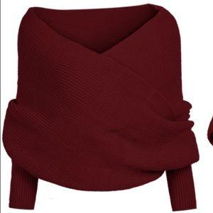 Cross wrap off shoulder sweater